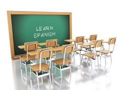 3d classroom with chairs and chalkboard. - stock illustration