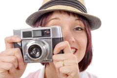 Young woman with vintage camera. youth lifestyle Stock Photos