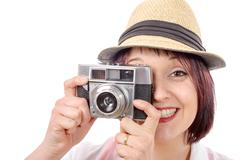 young woman with vintage camera. youth lifestyle - stock photo