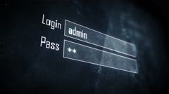 Successful login, access granted screen text, system message, notification Stock Footage