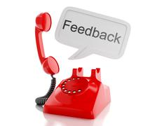 3d red telephone and speech bubble with word feedback. - stock illustration