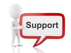 3d White people with speech bubble that says Support. Stock Illustration