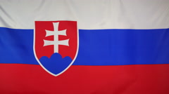 Slovakia Flag real fabric Close up 4K Stock Footage