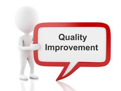 3d White people with speech bubble that says Quality Improvement. Stock Illustration