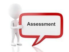 3d White people with speech bubble that says assessment. Stock Illustration