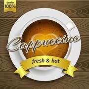 Cup of hot cappuccino - stock illustration