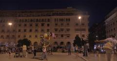 Night life on main city square Stock Footage