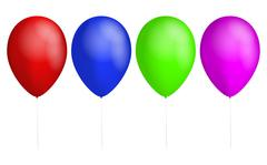Set of four colorful balloons. Red balloon. Blue Balloon. Green balloon. Pink - stock illustration