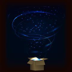 Magic box. Magic box with tornado fireworks. Magic box with circular plasma e - stock illustration