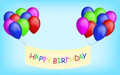 Happy birthday balloons with banner. Colorful balloons with happy birthday ba Piirros