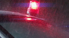 Police light flashing at the police car. .Police surrounding. Stock Footage