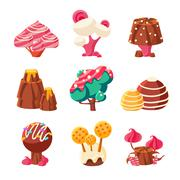 Fantasy Sweet Trees Set - stock illustration