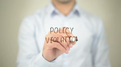 Policy Violation, man writing on transparent screen Stock Footage