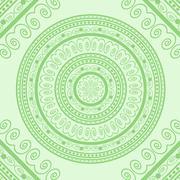 Green Circle Lace Ornament - stock illustration