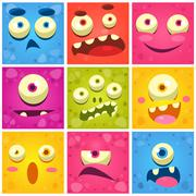 Monster Faces Collection - stock illustration