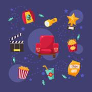 Cinema Related Objects Collection - stock illustration