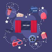Movie Theatre Objects Collection - stock illustration