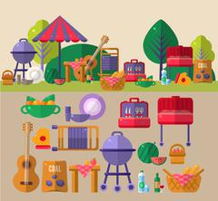 Barbeque Outdoors Object Set - stock illustration