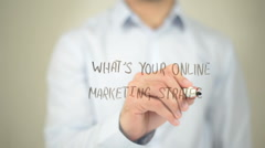 What's Your Online Marketing Strategy, man writing on transparent screen - stock footage