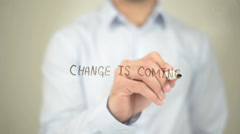 Change is Coming, man writing on transparent screen Stock Footage