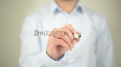 Immigration Law, man writing on transparent screen Stock Footage