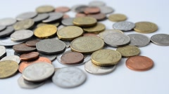 Coins of the different countries of the world. Stock Footage