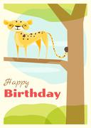 Birthday and invitation card animal background with cheetah - stock illustration