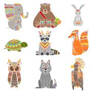 Animals Wearing Tribal Clothing Set - stock illustration