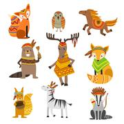 Animals Wearing Tribal Clothing Collection - stock illustration