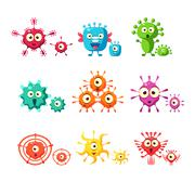 Bacteria And Virus Fun Collection - stock illustration