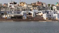 Old architecture and water sacred Sarovar lake.  Pushkar, India Stock Footage