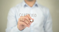 Certified Service, man writing on transparent screen Stock Footage
