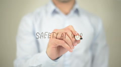 Safety at Work, man writing on transparent screen Stock Footage