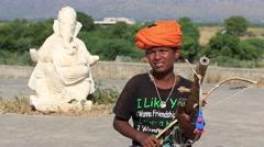 Indian musician at the attended the annual Pushkar Camel Mela. India, Pushkar Stock Footage