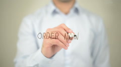 Order Now, man writing on transparent screen Stock Footage