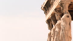 Caryatids statue in acropolis Stock Footage