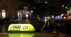 Taxi services in night city Stock Footage