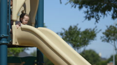 Toddler slides down to waiting mom and dog in playground Stock Footage