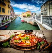 Rustic pizza with old city Italy background Stock Photos