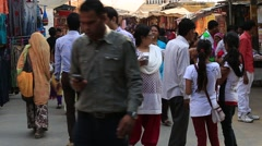 Indian people visit the holy city Pushkar , India - stock footage
