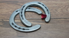 Rose petals falling on horseshoes Stock Footage