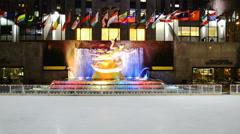 Ice Skating Rink below the Rockefeller Centre building Stock Footage