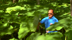 Man walk through the high vegetation in the jungle tropic forest rn - stock footage