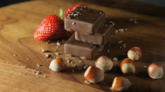 Chocolate, strawberries and nuts Stock Footage