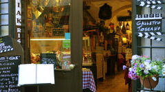 Interior of cozy cafe, bar or restaurant on a pedestrian street of Rome Italy Stock Footage