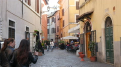People walking Rome - Cozy Italian streets with cafes and shops Stock Footage