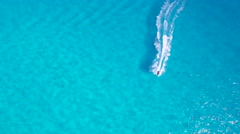 Jet Ski Overhead Aerial with Beautiful Turquoise Blue Water - stock footage