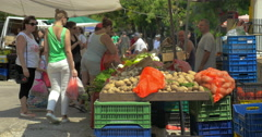 Street Greengrocery Market Stock Footage