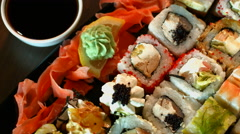 Food seafood cooking sushi Asian cuisine close-up camera motion. Stock Footage
