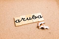 Words on sand Aruba Stock Photos